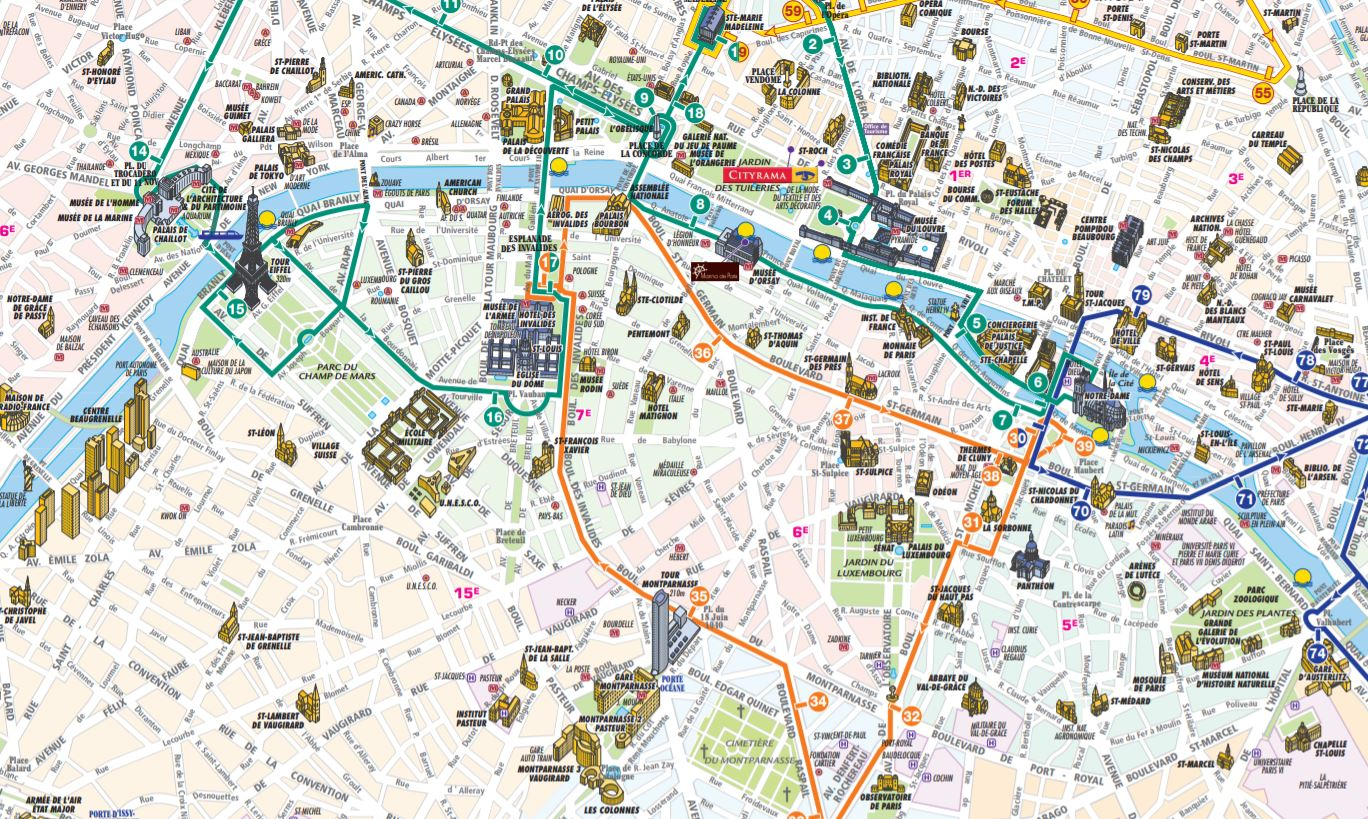 Gratis Paris Stadtplan mit Sehenswürdigkeiten zum Download ...