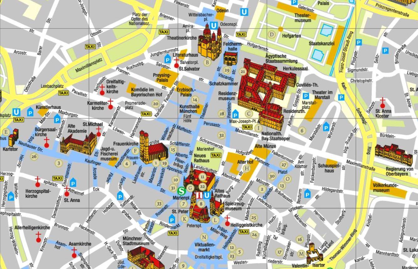 Sehenswürdigkeiten Großbritannien Karte.Gratis München Stadtplan Mit Sehenswürdigkeiten Zum Download Planative