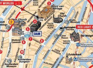 Tourist Map / Stadtplan mit Sehenswürdigkeiten von Amsterdam, die Niederlande