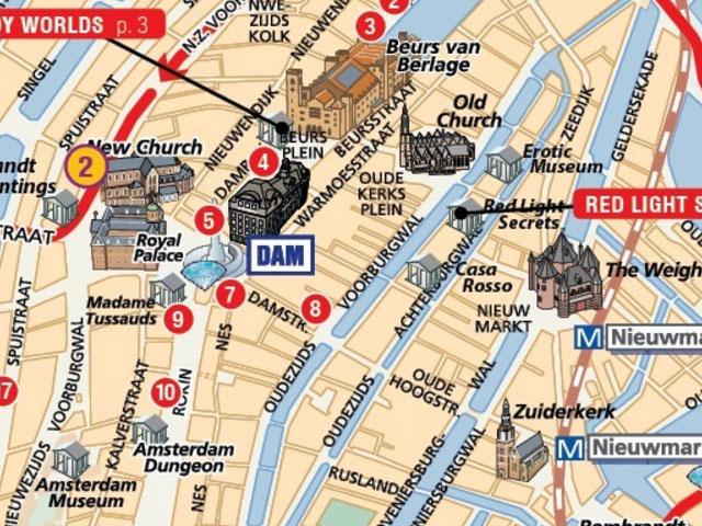 Amsterdam Stadtplan mit Sehenswürdigkeiten zum Download - PLANATIVE
