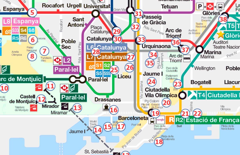 Barcelona Sehenswürdigkeiten Karte.Gratis Barcelona Stadtplan Mit Sehenswürdigkeiten Zum Download
