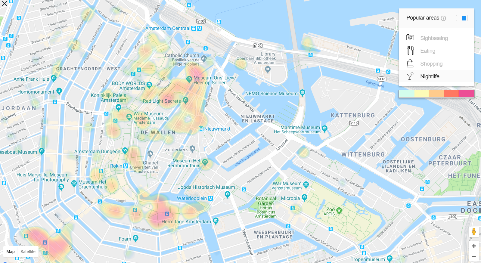 Amsterdam Heat Map - best nightlife