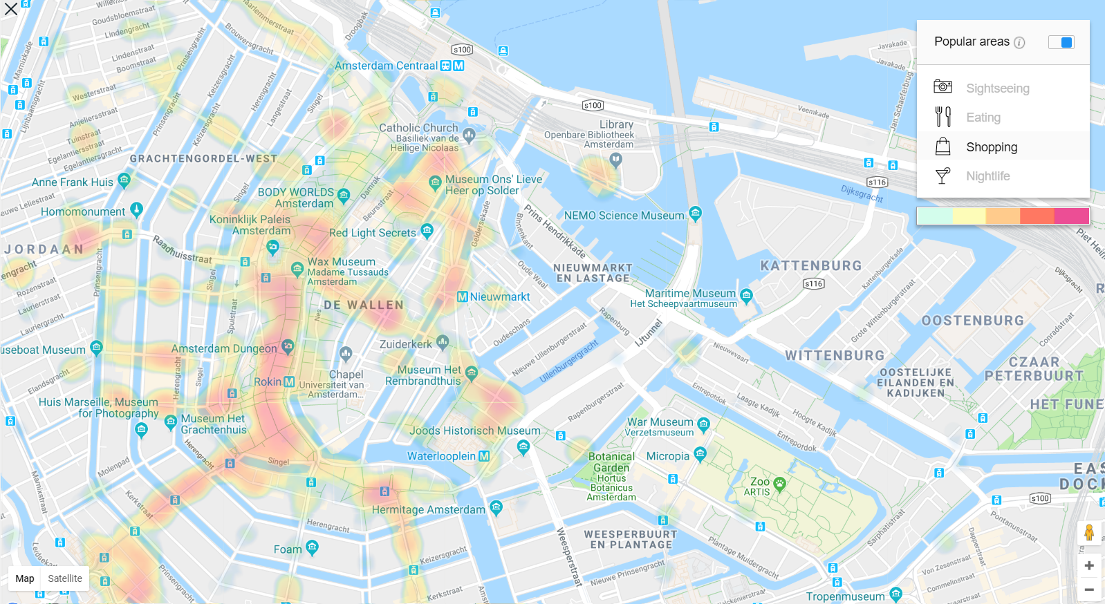 Amsterdam Heat Map für die besten Shopping Spots