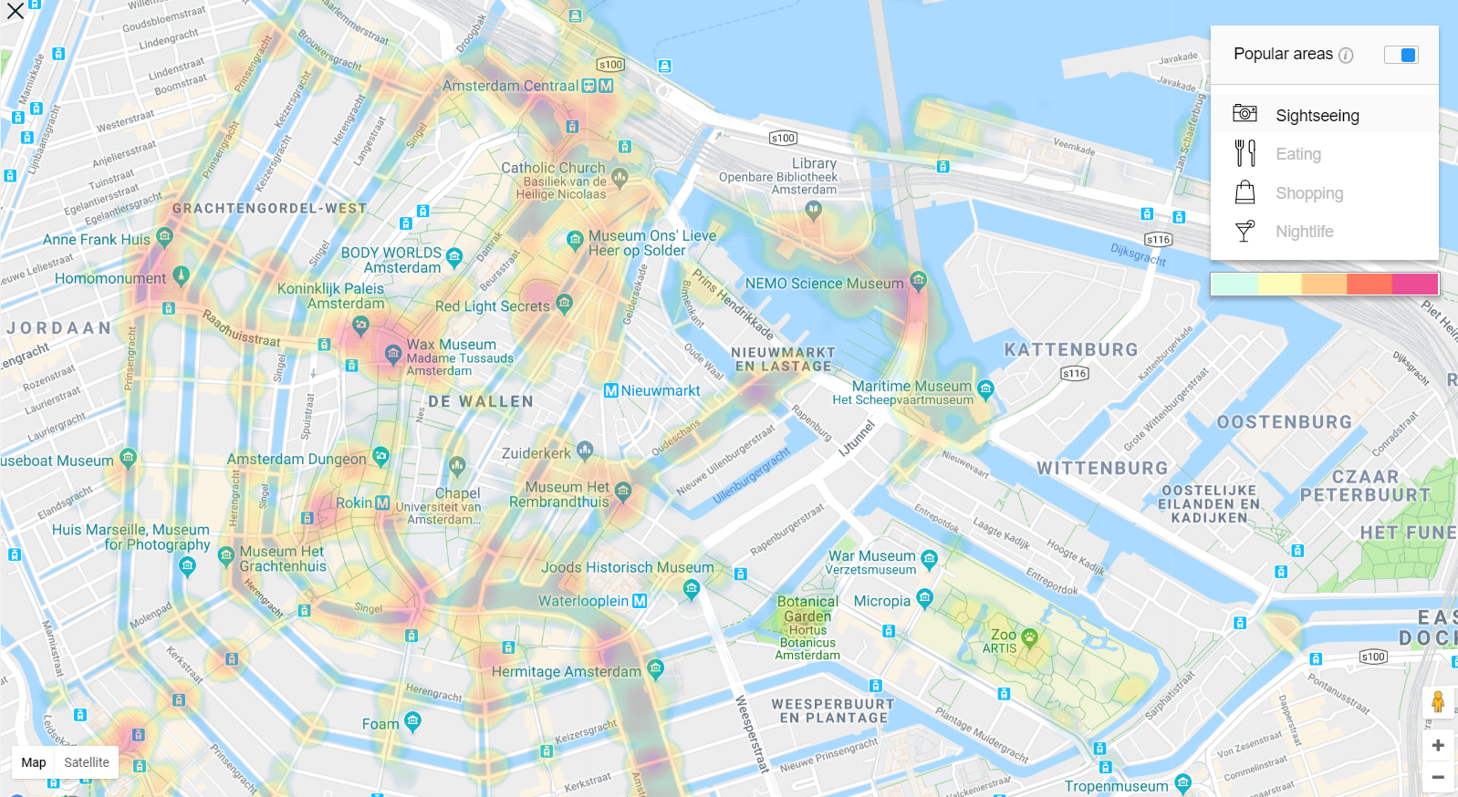 Amsterdam Heat Map - best sightseeing