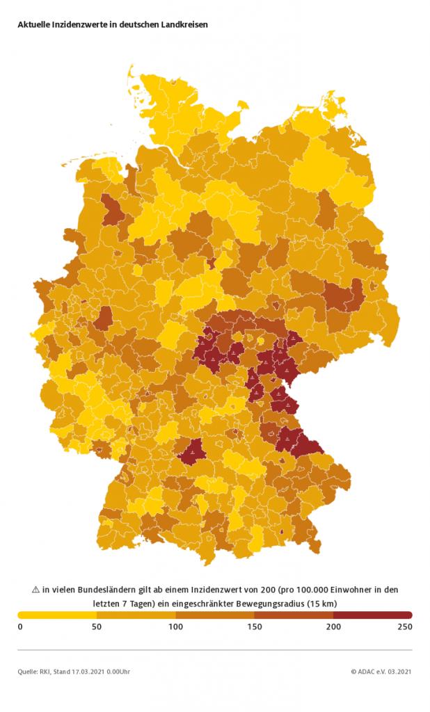 Corona Inzidenzwerte nach deutschen Landkreisen - Quelle ADAC