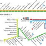 Netzplan zu öffentlichen Verkehrsmitteln, Zügen und Metro in Rom