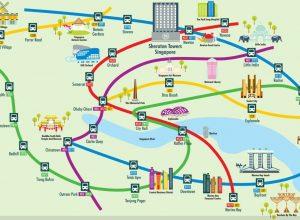 Ubahnplan mit Sehenswürdigkeiten des Sheraton Hotels in Singapore