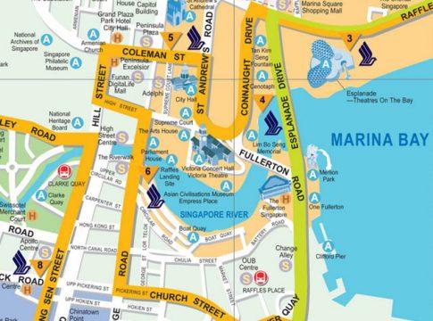 Singapore Stadtplan / Tourist Map mit Sehenswürdigkeiten